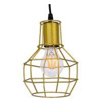 GloboStar® CAGE 00950 Vintage Industrial Κρεμαστό Φωτιστικό Οροφής Μονόφωτο Χρυσό Μεταλλικό Πλέγμα Φ15 x Y22cm