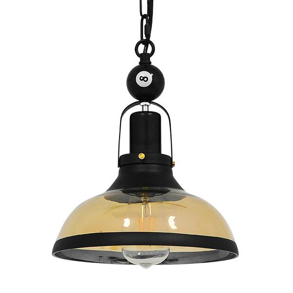 GloboStar® BILLIARD 00971 Vintage Industrial Κρεμαστό Φωτιστικό Οροφής Μονόφωτο Mαύρο Μεταλλικό Καμπάνα Φ25 x Υ29cm