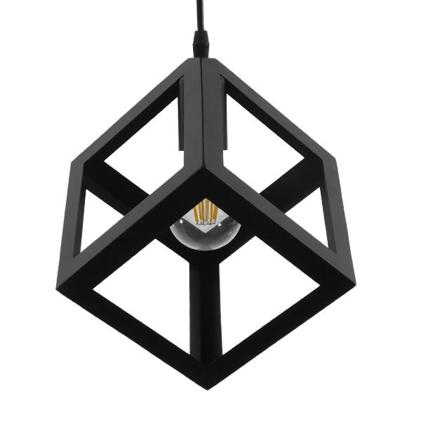 GloboStar® CUBE 01015 Μοντέρνο Κρεμαστό Φωτιστικό Οροφής Μονόφωτο Μαύρο Μεταλλικό Πλέγμα Φ25 x Y25cm