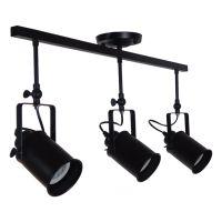GloboStar® HOLLYWOOD 01155 Vintage Φωτιστικό Οροφής Τρίφωτο Μαύρο Μεταλλικό Ράγα Μ13 x Π78 x Υ38cm
