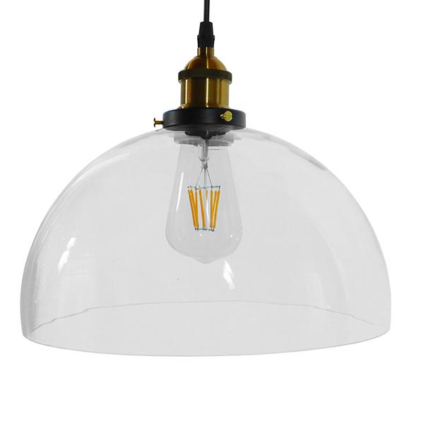 GloboStar® DARCY 01171 Vintage Κρεμαστό Φωτιστικό Οροφής Μονόφωτο Γυάλινο Καμπάνα Φ30 x Y25cm