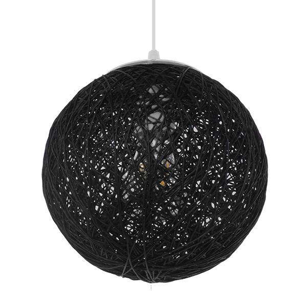 GloboStar® OCEANA 01356  Vintage Κρεμαστό Φωτιστικό Οροφής Μονόφωτο Μαύρο Ξύλινο Ψάθινο Rattan Φ20 x Υ20cm