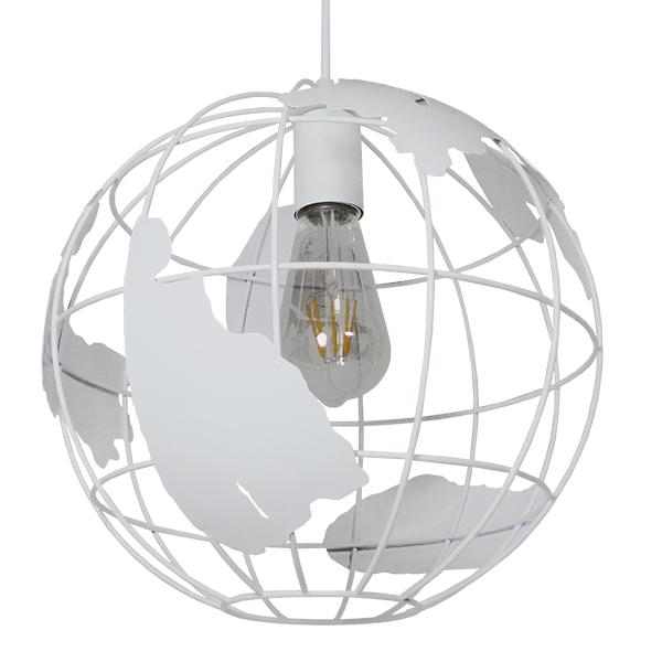 GloboStar® EARTH 30CM 01382 Vintage Industrial Κρεμαστό Φωτιστικό Οροφής Μονόφωτο Λευκό Μεταλλικό Πλέγμα Φ30 x Υ30cm