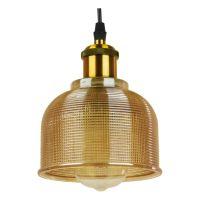 GloboStar® SEGRETO 01448 Vintage Κρεμαστό Φωτιστικό Οροφής Μονόφωτο Χρυσό Γυάλινο Διάφανο Καμπάνα με Χρυσό Ντουί Φ14 x Υ18cm