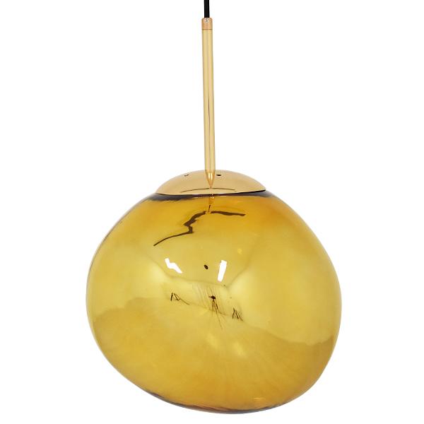 GloboStar® DIXXON 01462 Μοντέρνο Κρεμαστό Φωτιστικό Οροφής Μονόφωτο Γυάλινο Χρυσό Φ28 x Υ40cm