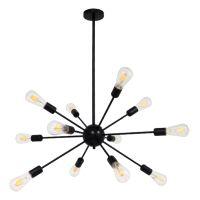 GloboStar® MILANO 01486 Μοντέρνο Industrial Φωτιστικό Οροφής Πολύφωτο Μαύρο Μεταλλικό Φ80 x Y78cm