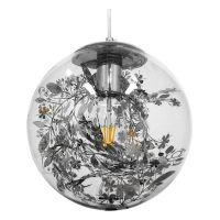 GloboStar® HARPER 01510 Μοντέρνο Κρεμαστό Φωτιστικό Οροφής Μονόφωτο Γυάλινο Διάφανο με Ασημί Νίκελ Γιρλάντα Φ25 x Υ30cm