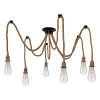 GloboStar® ATROX 01547 Vintage Φωτιστικό Οροφής Πολύφωτο Μαύρο με 6x2 Μέτρα Μπεζ Σχοινί