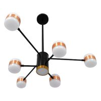 GloboStar® ORNATE 01552 Μοντέρνο Φωτιστικό Οροφής LED 56 Watt Πολύφωτο Μαύρο με Μπρονζέ και Χρυσές Λεπτομέρειες Μεταλλικό Λευκό Ημέρας 4500k Φ63 x Y36-45cm