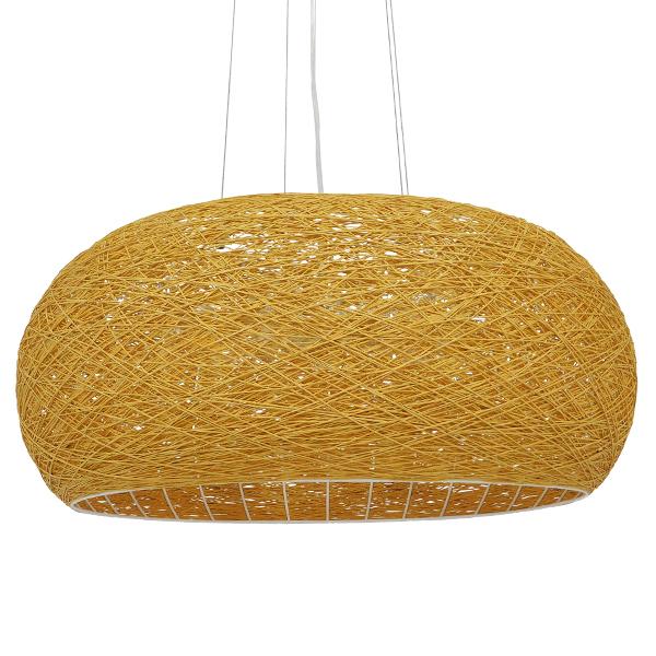 GloboStar® FIJI 01628 Vintage Κρεμαστό Φωτιστικό Οροφής Πολύφωτο Μπέζ Rattan Φ60 x Υ29cm