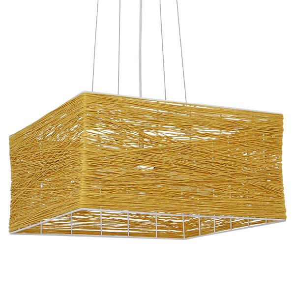 GloboStar® LONG BAY 01629 Vintage Κρεμαστό Φωτιστικό Οροφής Πολύφωτο Καφέ Ξύλινο Rattan Μ40 x Π40 x Υ22.5cm