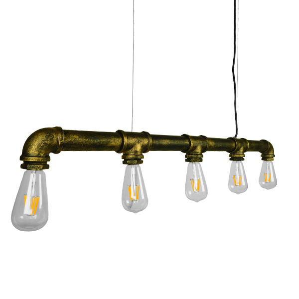 GloboStar® DUCT 01669 Vintage Industrial Κρεμαστό Φωτιστικό Οροφής Πολύφωτο Μπρούτζινο Μεταλλικό Ράγα Μ92 x Π5 x Y8cm