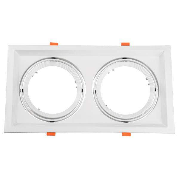GloboStar® 77854 Χωνευτή Τετράγωνη Διπλή Βάση για Spot AR111 Λευκή Κινούμενη σε 2 Άξονες M33.5 x Π17.5 x Y5.5cm