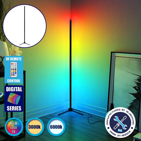 Μοντέρνο Minimal Επιδαπέδιο Μαύρο Φωτιστικό 200cm LED 32 Watt με Ασύρματο Χειριστήριο 2.4G RF & Dimmer RGBW+WW Πολύχρωμο Digital Magic Dot Pixel GloboStar ALIEN Design GLOBO-200-11